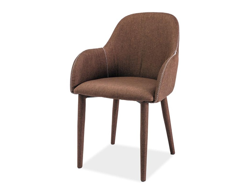 Scaun tapitat cu stofa, cu picioare metalice Oscar Brown, l56xA47xH87 cm imagine