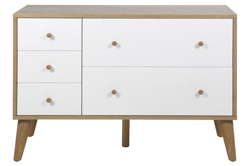 Comoda din lemn si furnir Oslo White l112xA45xH75 cm