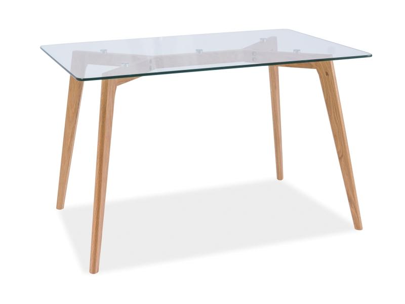 Masa din lemn masiv si sticla Oslo, L120xl80xh75 cm title=Masa din lemn masiv si sticla Oslo, L120xl80xh75 cm