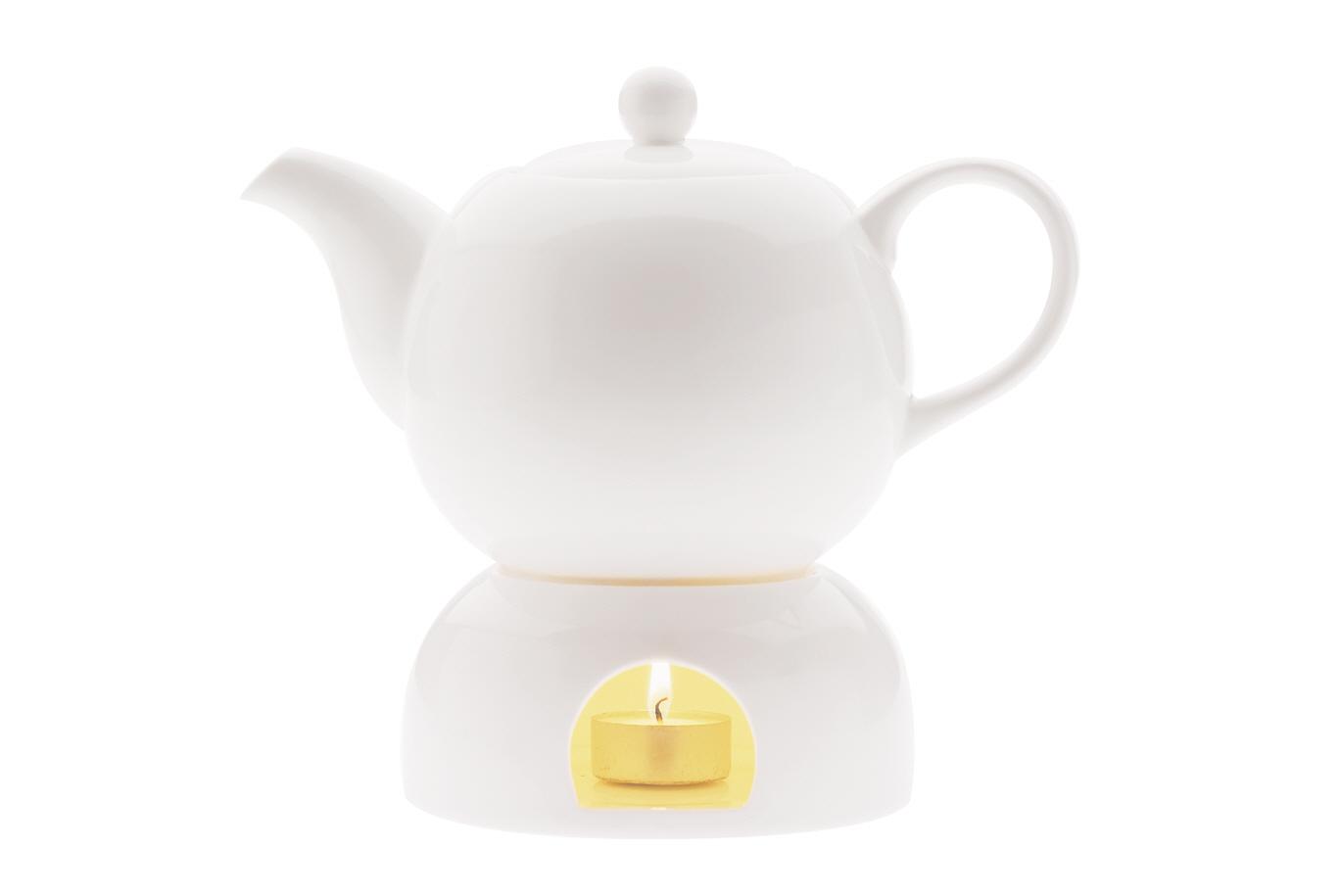 Ceainic cu incalzitor White Basics Teapot Alb, Portelan, 1l