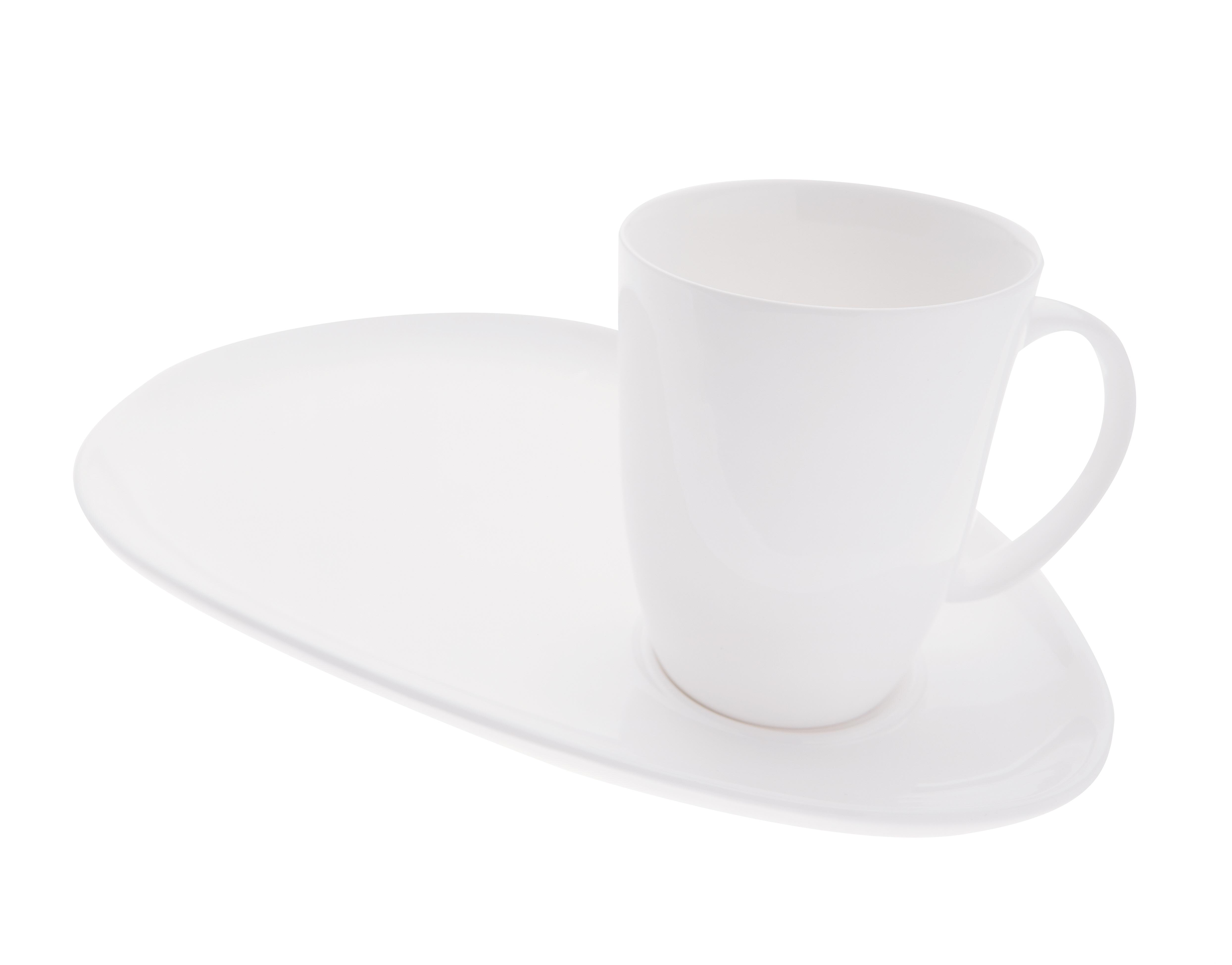 Cana cu farfurie White Basics Alb, Portelan
