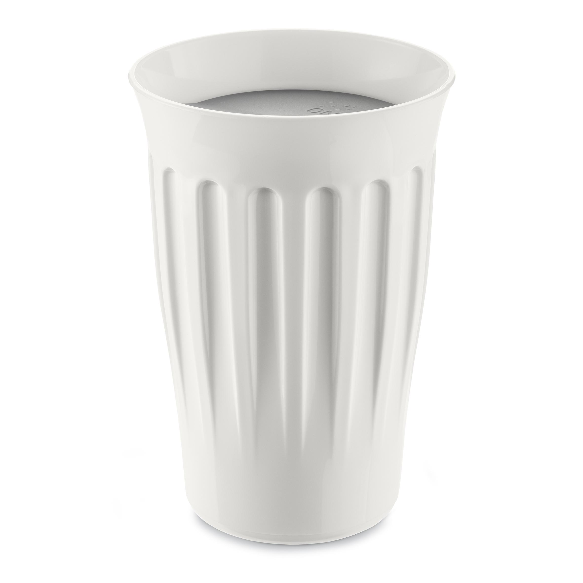 Pahar cu capac, din termoplastic Click To – Go Alb / Gri, 350 ml, Ø9,3xH13,6 cm