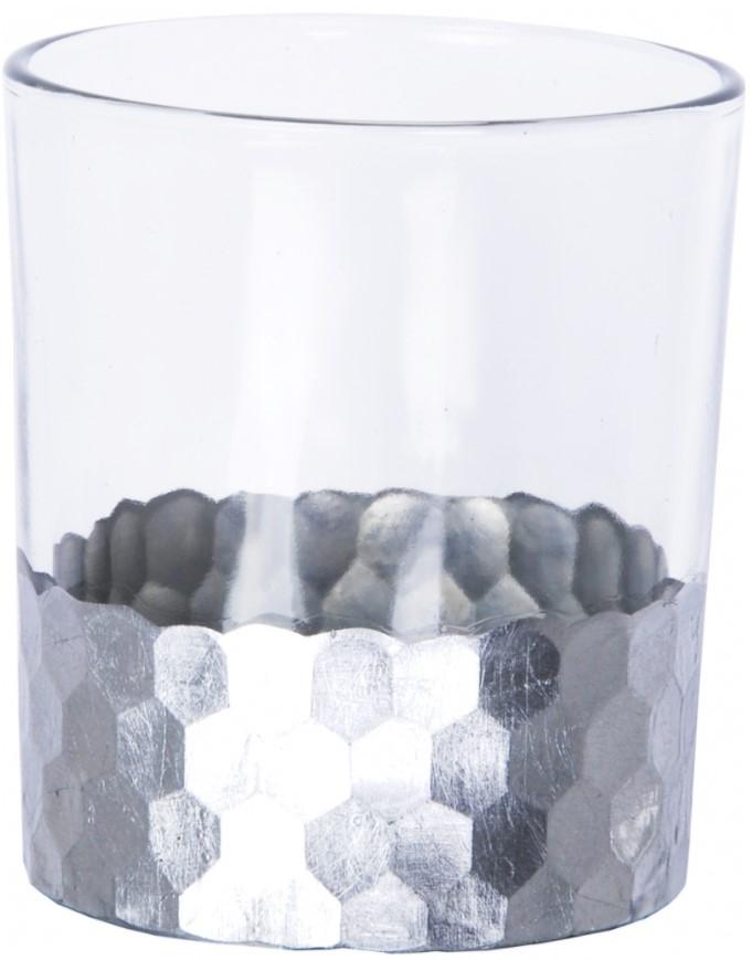 Pahar cu lumanare pastila, Jazz Argintiu, Ø8,8xH10 cm somproduct.ro