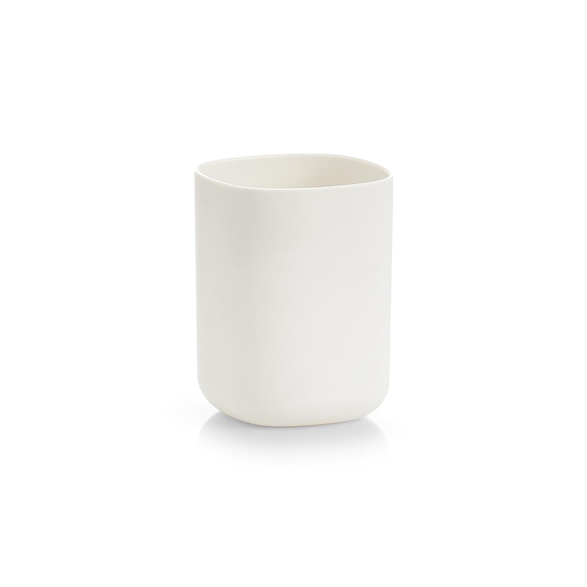 Poza Pahar din plastic pentru periuta de dinti, Wellness Alb, L7,3xl7,3xH9,5 cm