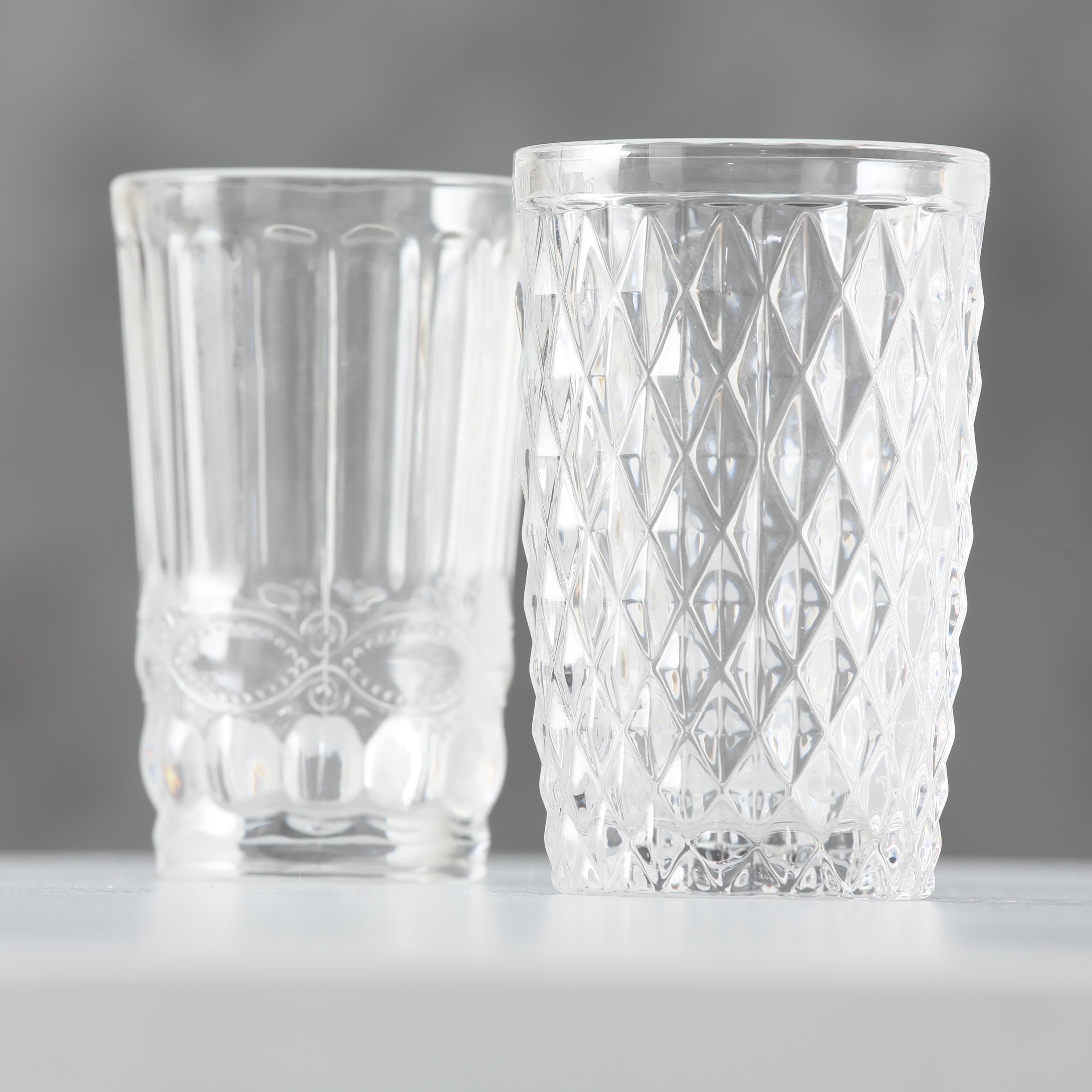 Pahar din sticla Aurora Transparent, Modele Asortate, Ø8xH13 cm