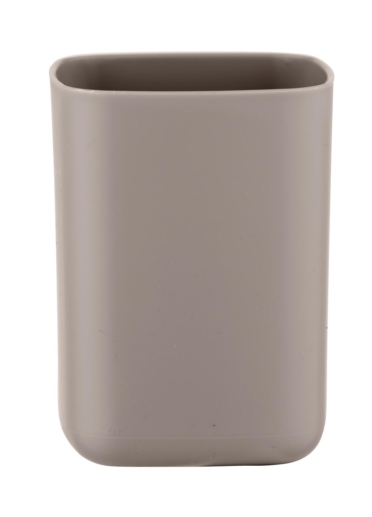 Pahar pentru periuta de dinti, din termoplastic, Barcelona Taupe, L7xl7xH10 cm imagine