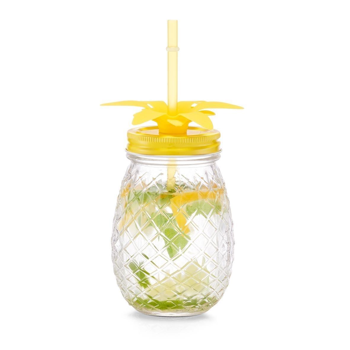 Pahar pentru limonada din sticla, capac si pai, Pineapple Galben, 500 ml, Ø9,5xH14,5 cm