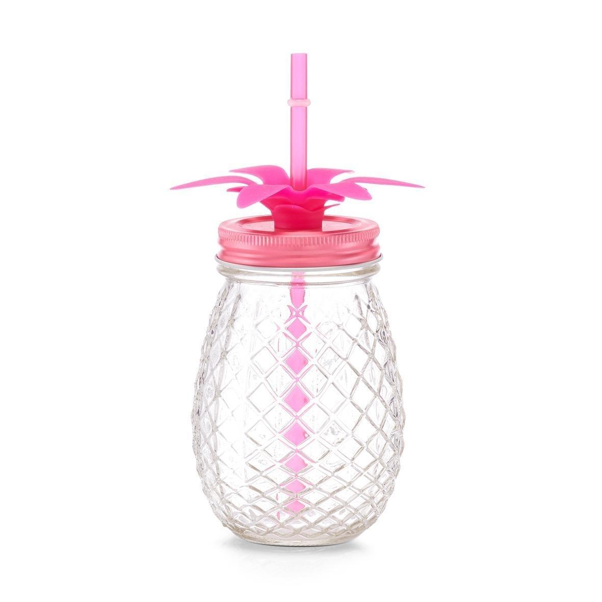 Pahar pentru limonada din sticla, capac si pai, Pineapple Roz, 500 ml, Ø9,5xH14,5 cm somproduct.ro