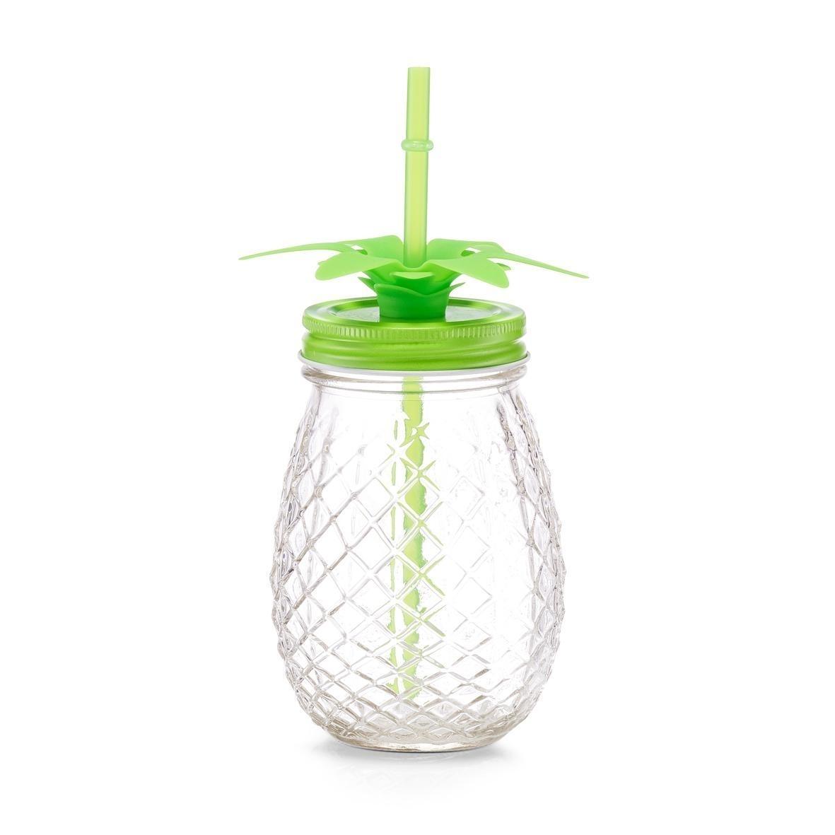 Pahar pentru limonada din sticla, capac si pai, Pineapple Verde, 500 ml, Ø9,5xH14,5 cm
