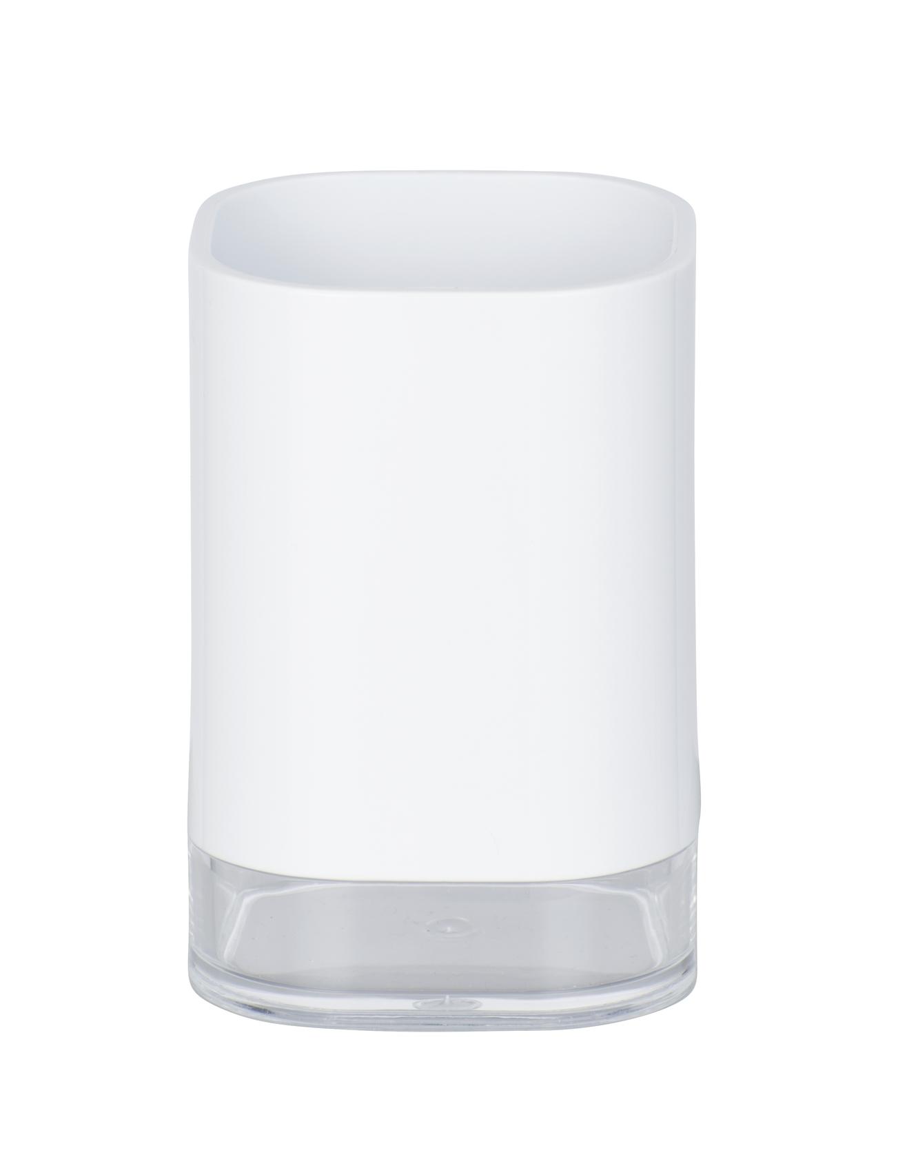 Pahar pentru periuta de dinti, din acril Oria Alb, L7,5xl7,5xH11,5 cm poza