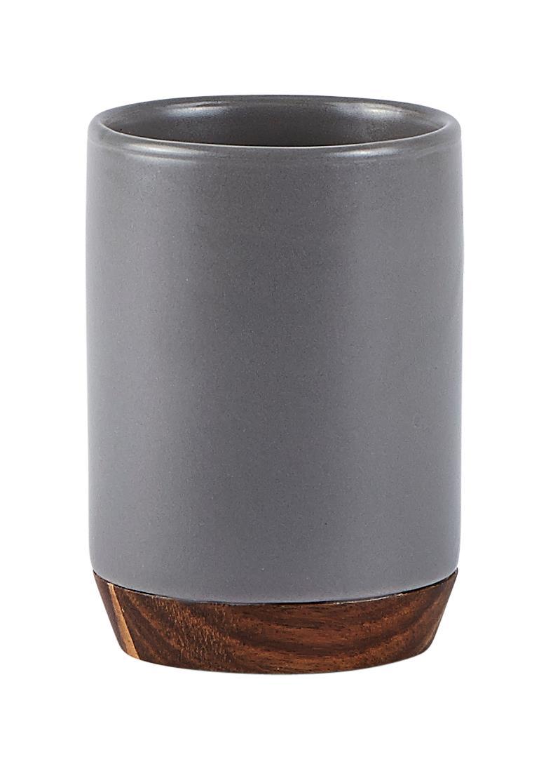Pahar pentru periuta de dinti din ceramica, 300 ml, Kj-Gri imagine