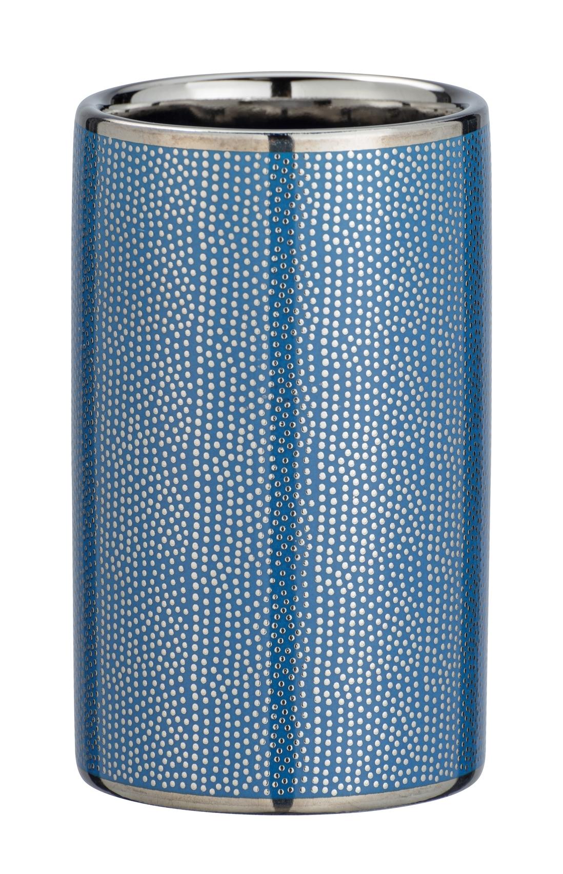 Pahar pentru periuta de dinti, din ceramica Nuria Argintiu / Albastru, Ø6,5xH10,7 cm poza