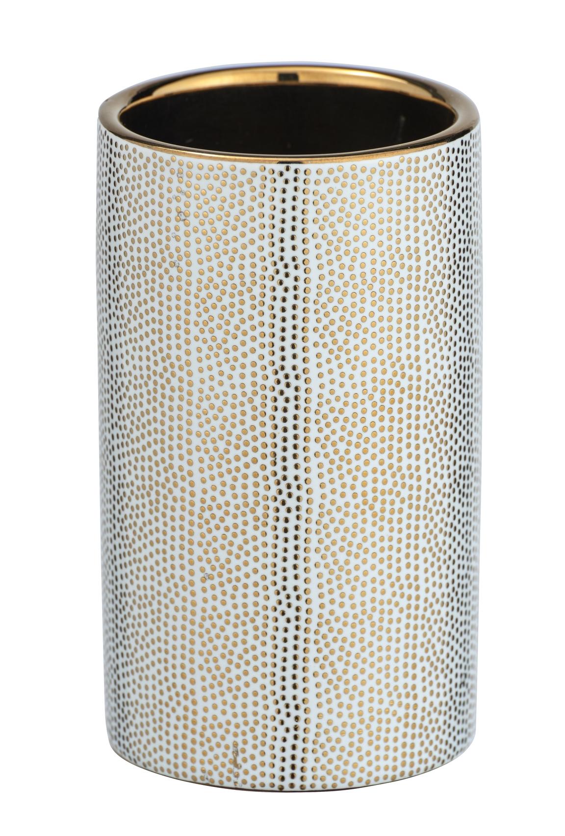 Pahar pentru periuta de dinti, din ceramica Nuria Auriu / Alb, Ø6,5xH10,7 cm poza