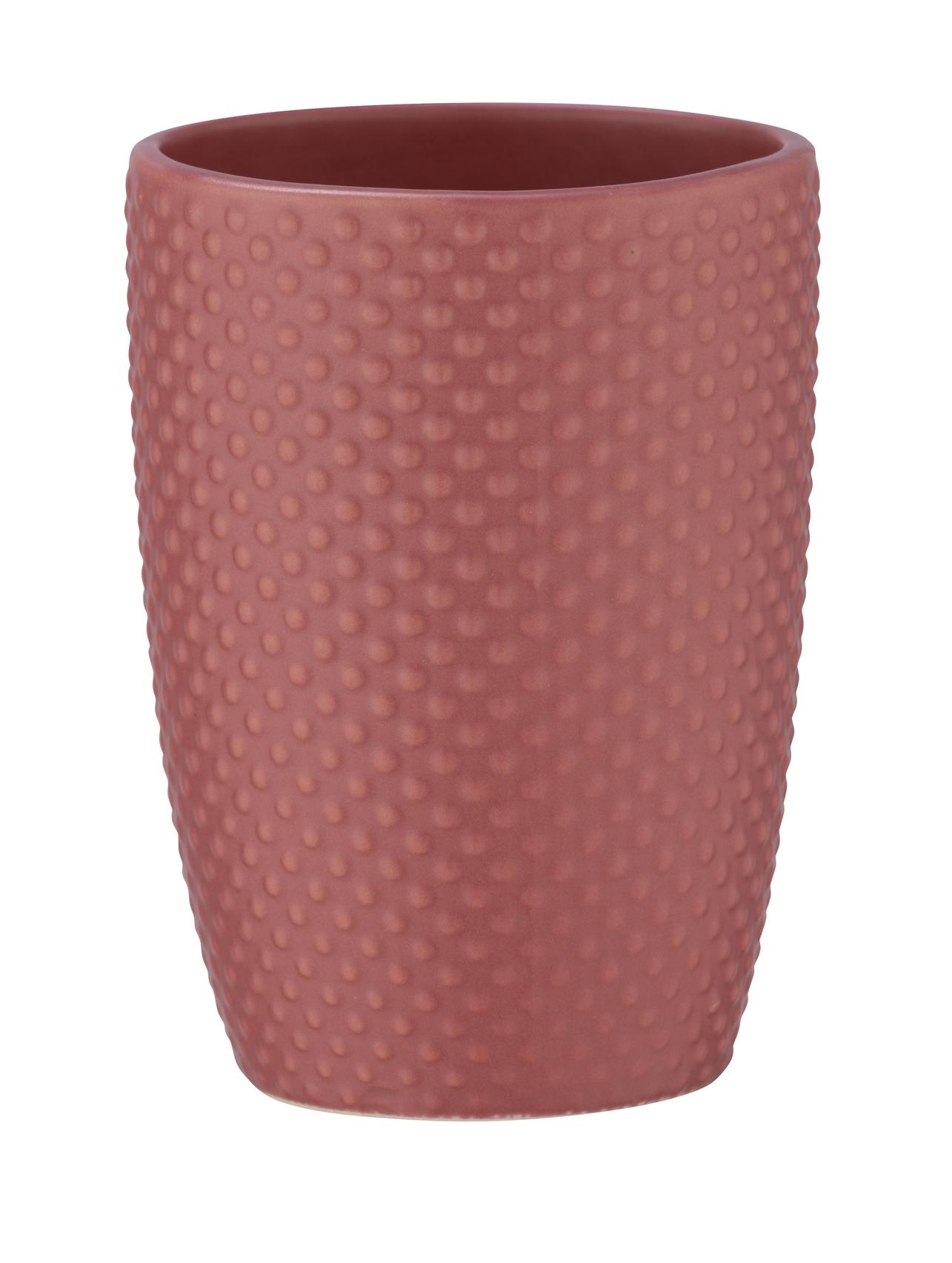 Pahar pentru periuta de dinti, din ceramica, Punto Roz Inchis, Ø8xH11 cm poza