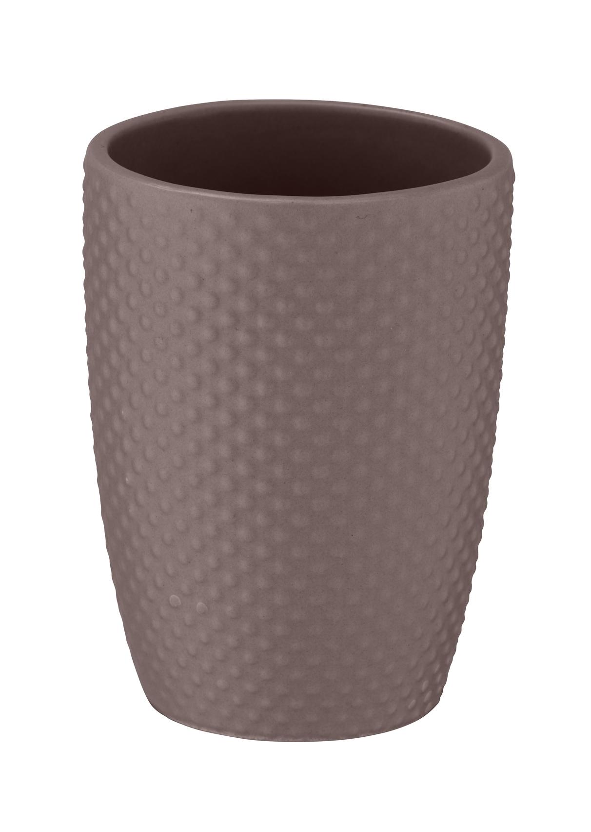 Pahar pentru periuta de dinti, din ceramica, Punto Taupe, Ø8xH11 cm imagine