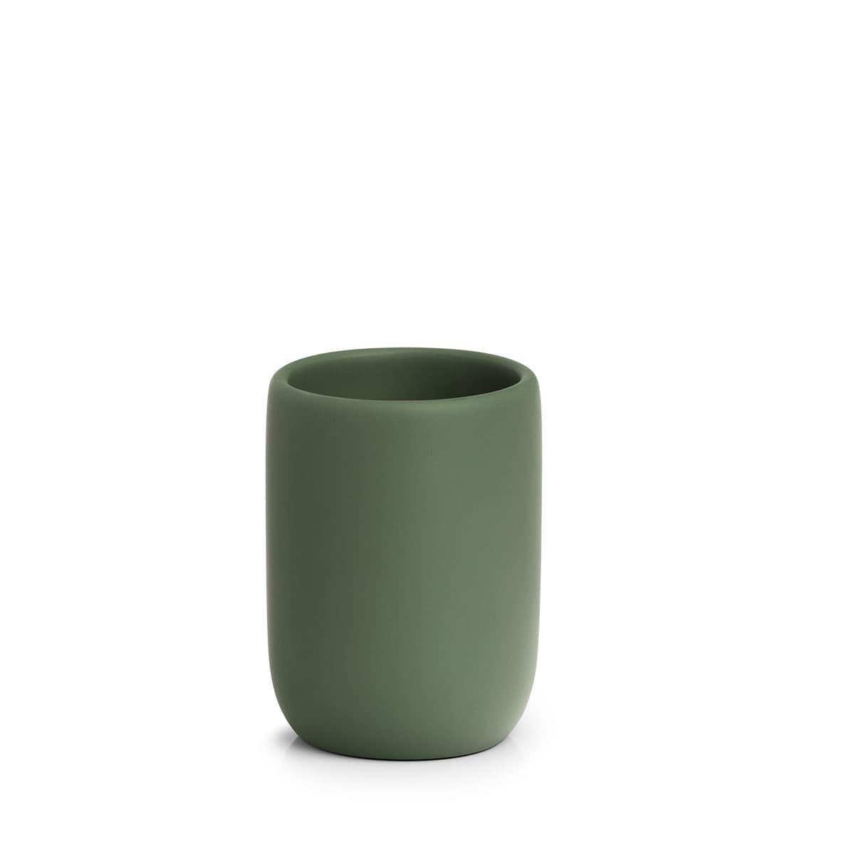 Pahar pentru periuta de dinti, din polirasina, Sage Verde Inchis, Ø7,2xH10 cm
