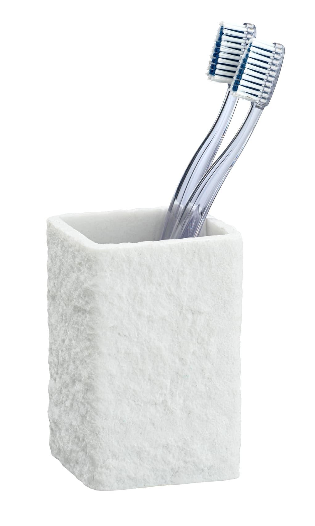 Pahar pentru periuta de dinti, din polirasina, Villata Alb, L7,5xl7,5xH11 cm imagine