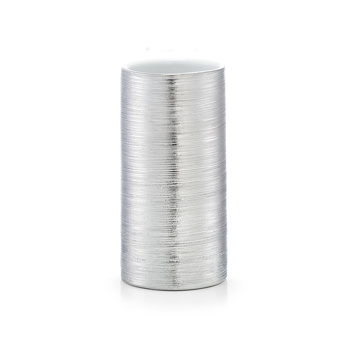 Pahar pentru periuta din ceramica, Brushed Silver, Ø 7xH13,5 cm imagine