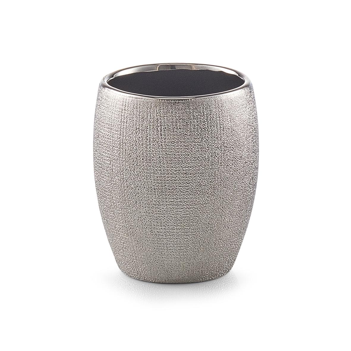 Pahar pentru periuta din ceramica, Glitter Silver, Ø 8,1xH9,8 cm imagine