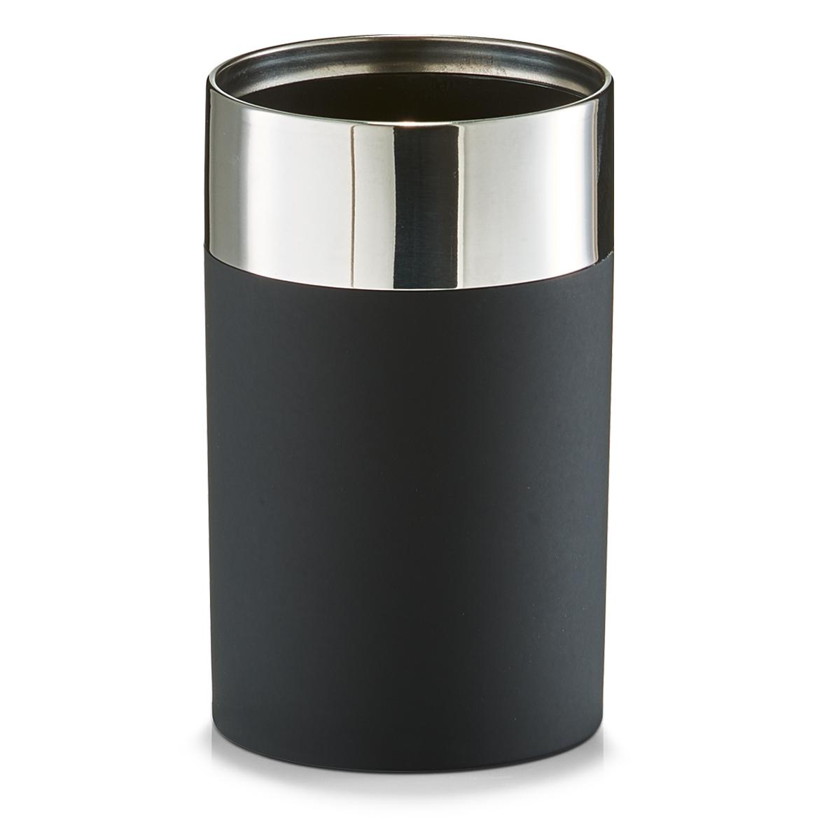 Pahar pentru periuta din plastic si inox Black matte O 65xH11 cm