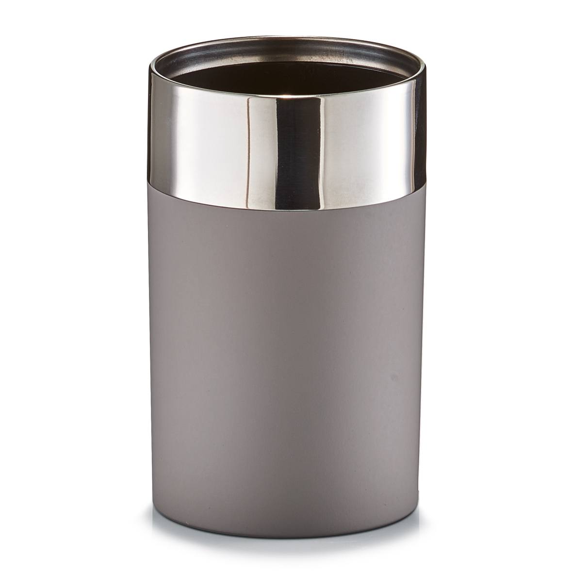 Pahar pentru periuta din plastic si inox, Taupe matte, Ø 6,5xH11 cm