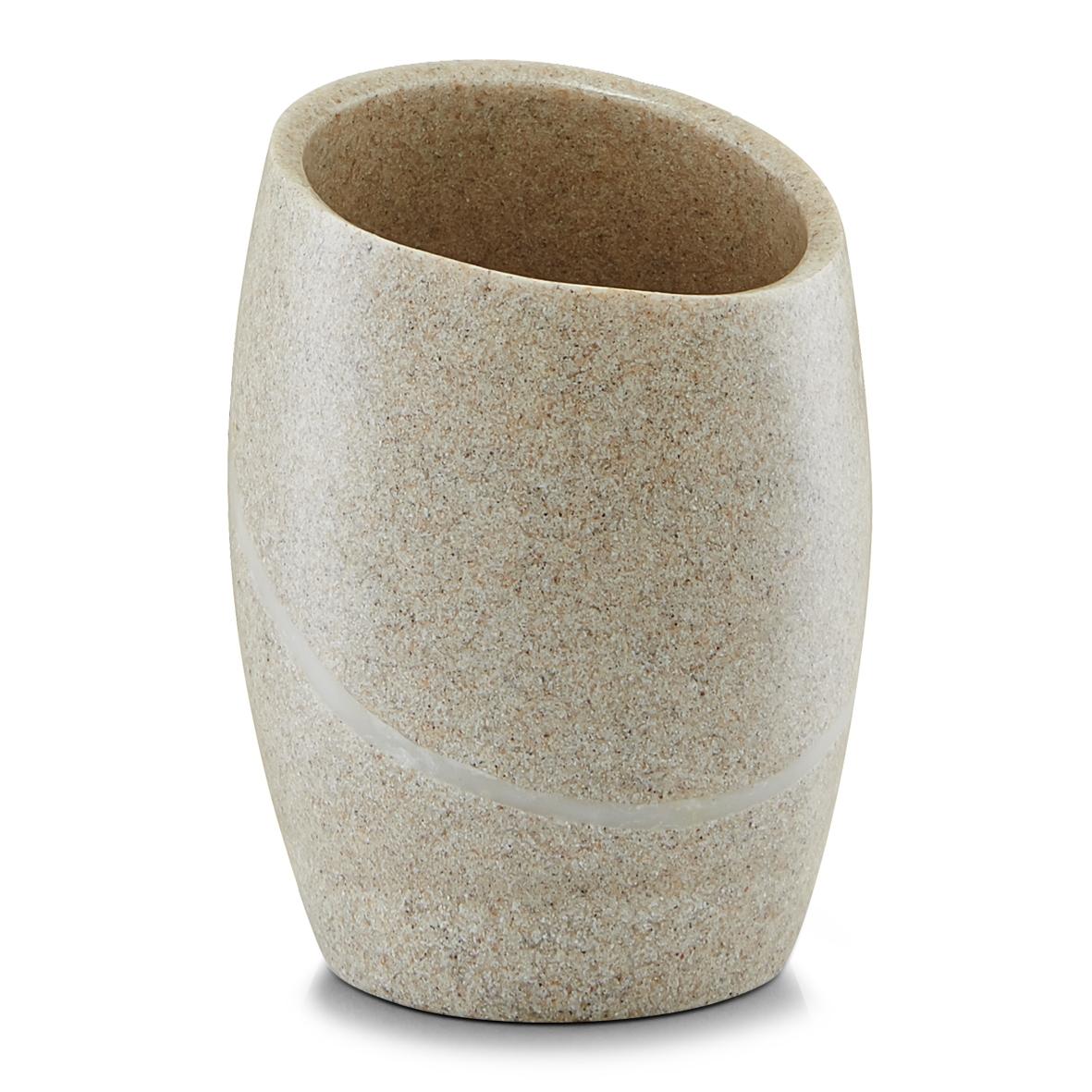 Pahar pentru periuta din polirasina Stonefinish Beige l84xA84xH11 cm