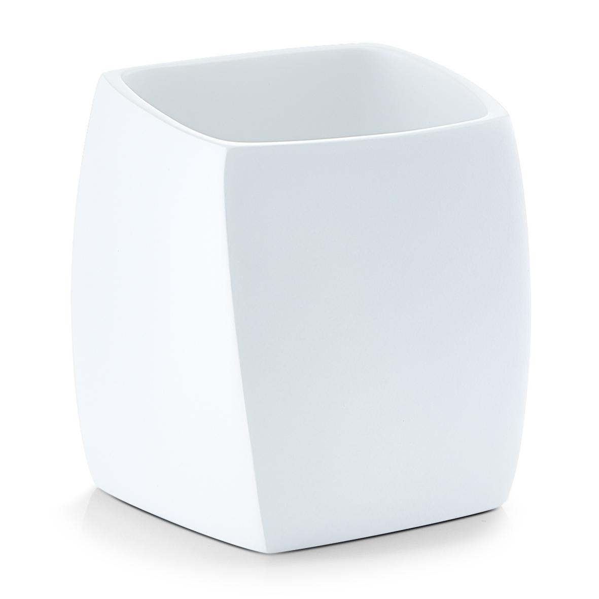 Pahar pentru periuta din polirasina Twisted White l8xA8xH88 cm