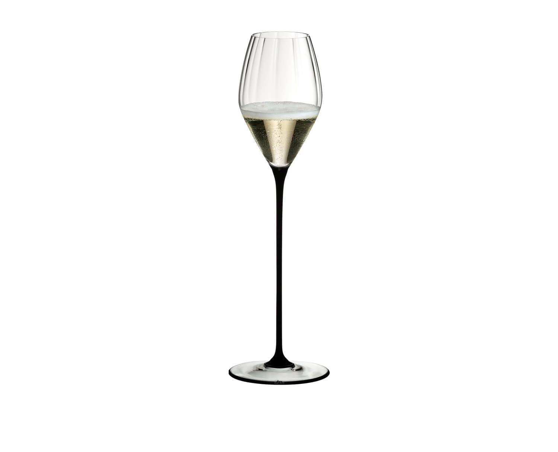 Pahar pentru sampanie si vin spumant, din cristal High Performance Champagne Negru, 375 ml, Riedel imagine