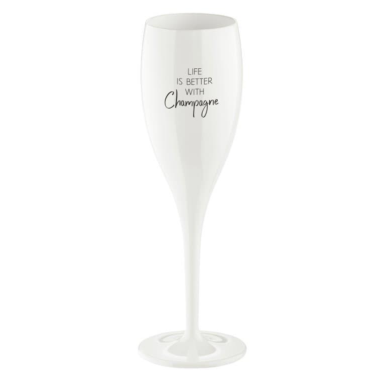 Pahar pentru sampanie Unbreakable Superglas Alb, Life Is Better With Champagne, 100 ml imagine