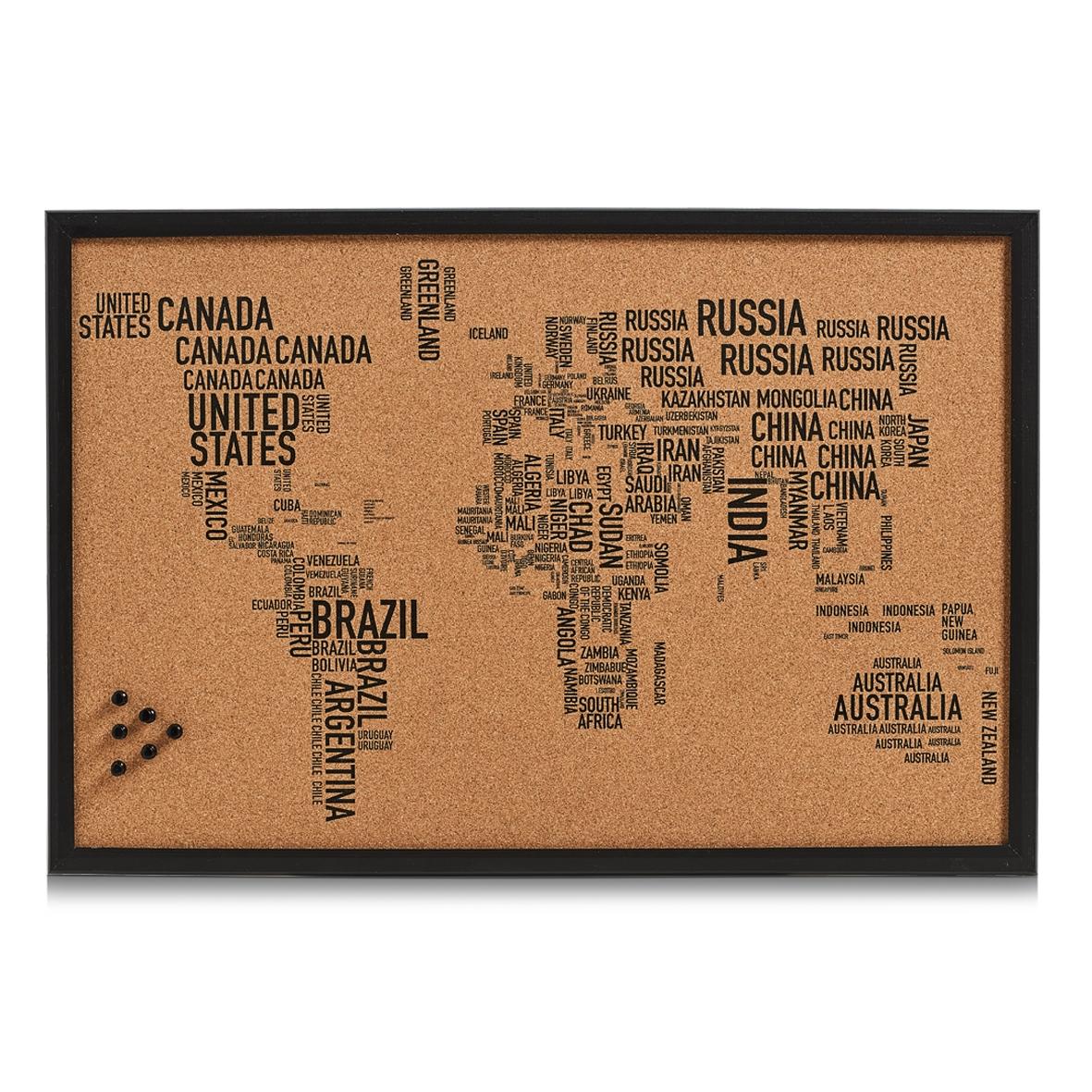 Panou din pluta cu rama de lemn, Pin Board World Letters Negru, L60xl40 cm imagine