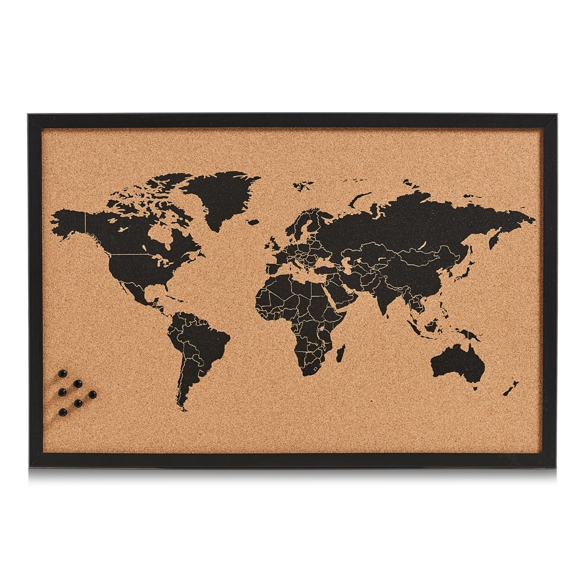 Panou din pluta cu rama de lemn, Pin Board Worldmap Negru, L60xl40 cm imagine