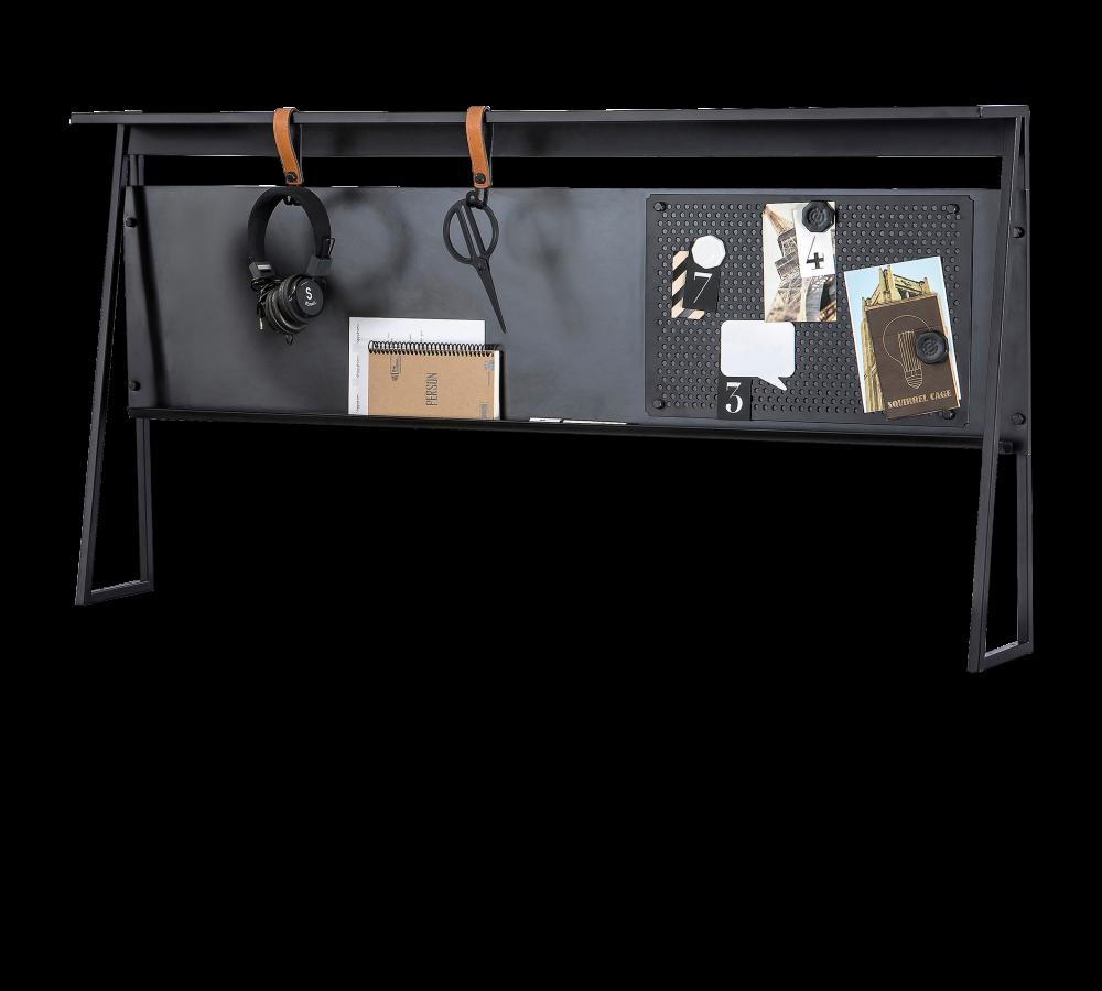 Panou multifunctional cu Memo Board pentru tineret Dark Metal Black / Graphite l114xA16xH66 cm