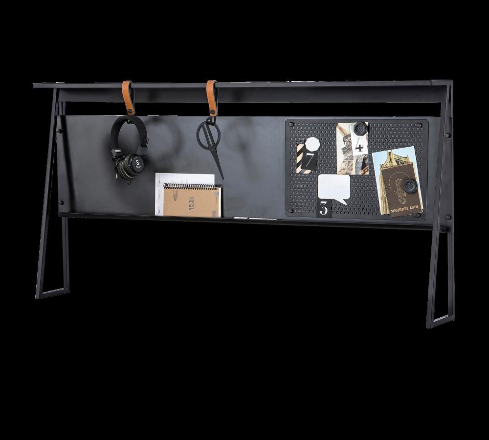 Panou multifunctional cu Memo Board pentru tineret Dark Metal Black / Graphite l134xA16xH66 cm