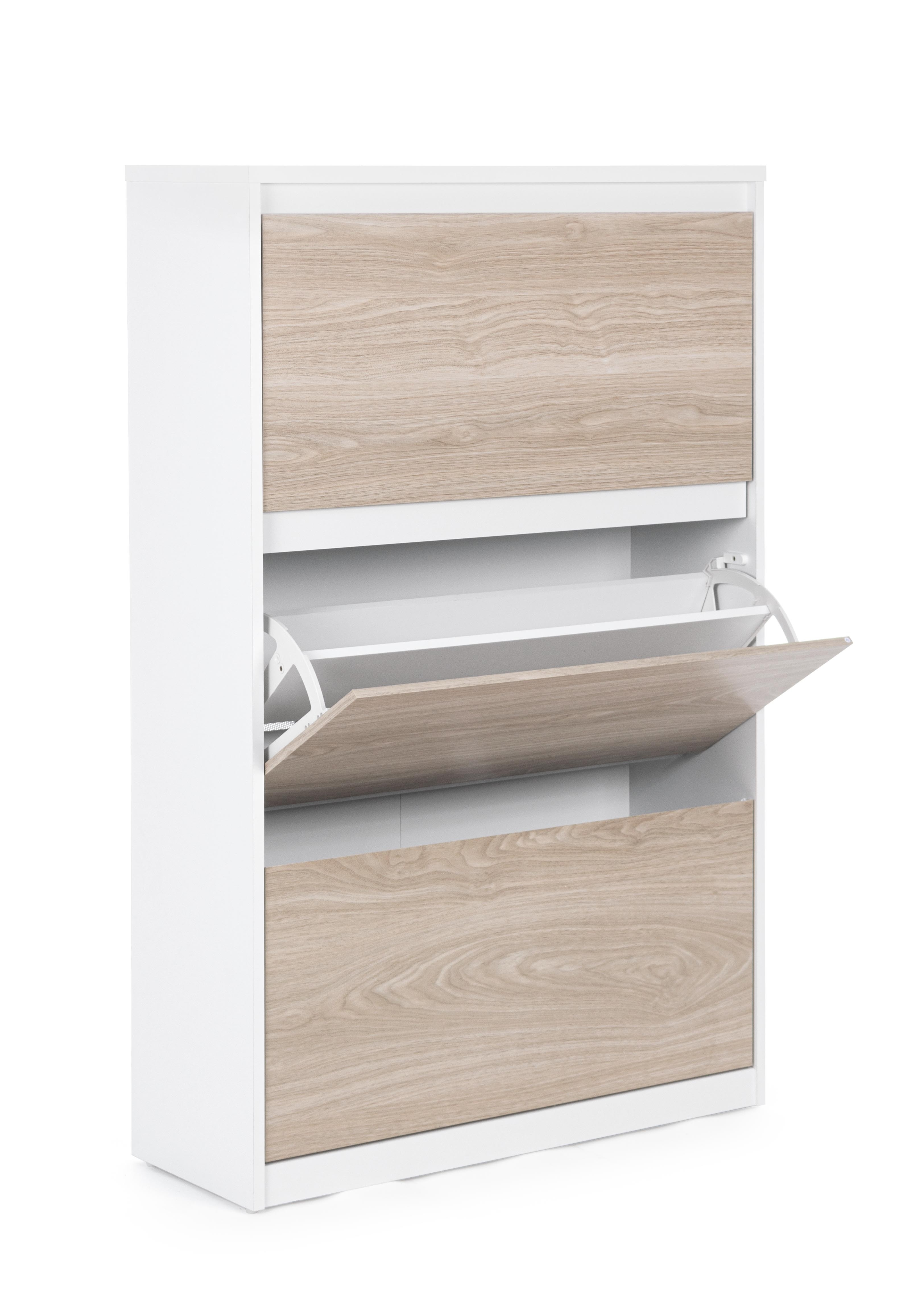 Pantofar din pal si MDF, cu 3 usi si 6 compartimente, Land Natural / Alb, l79xA29xH123,6 cm imagine
