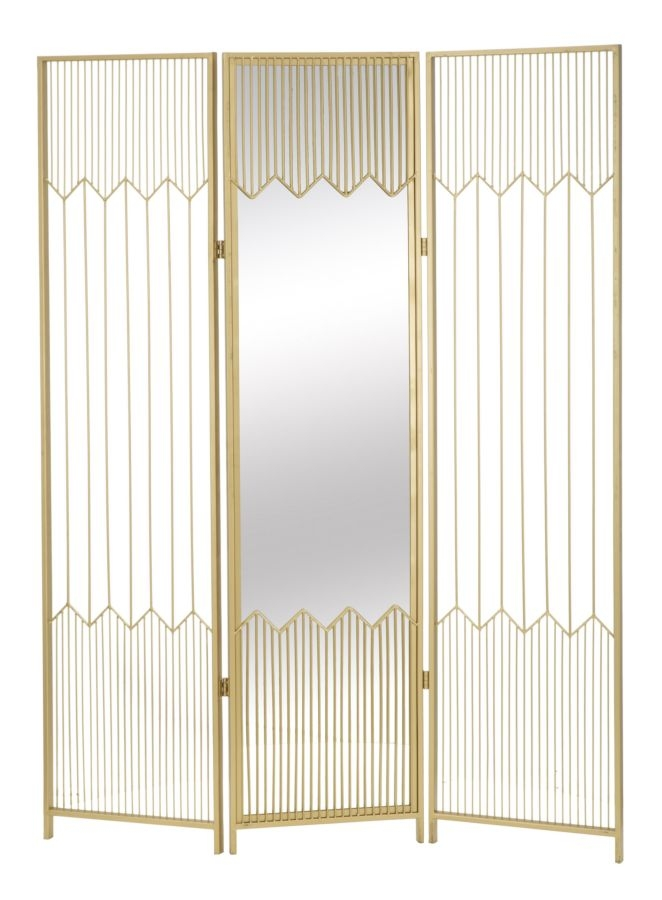 Paravan metalic cu oglinda Lille Gold l120xA25xH165 cm