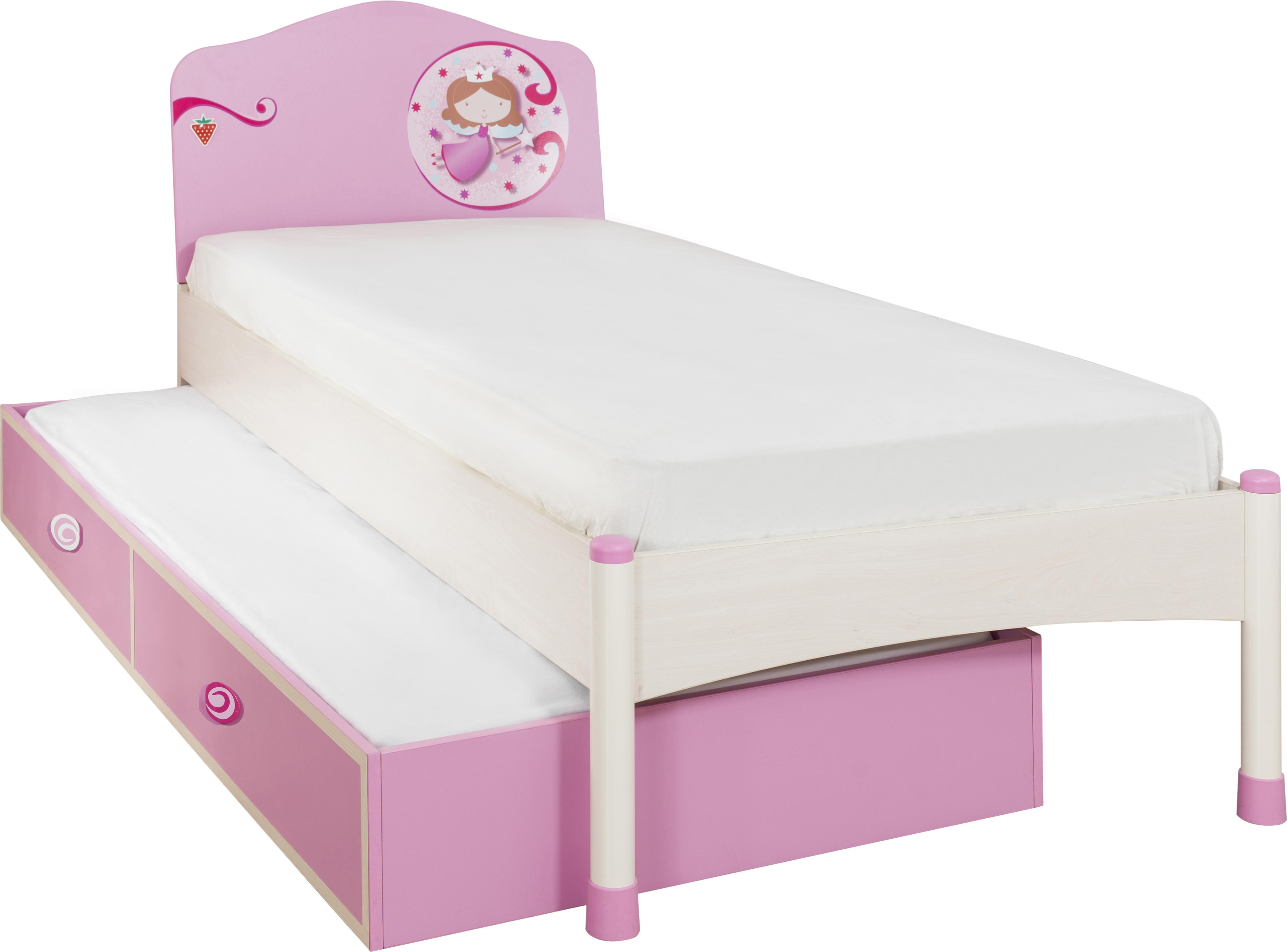 Pat din pal cu sertar, pentru copii Little Princess Pink / Nature, 200 x 90 cm poza
