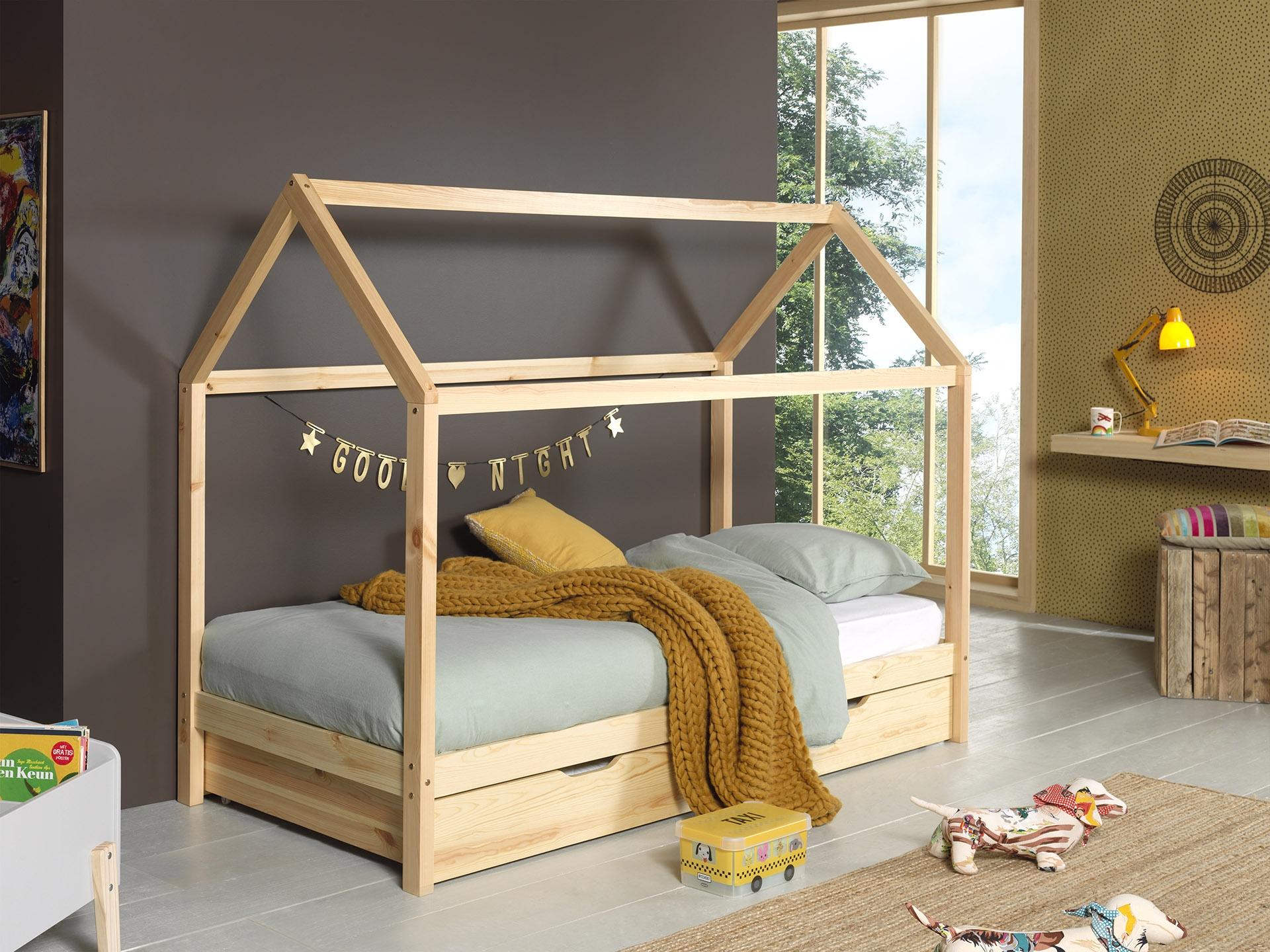 Pat din lemn de pin cu sertar, pentru copii tip casuta Dallas Natural, 200 x 90 cm