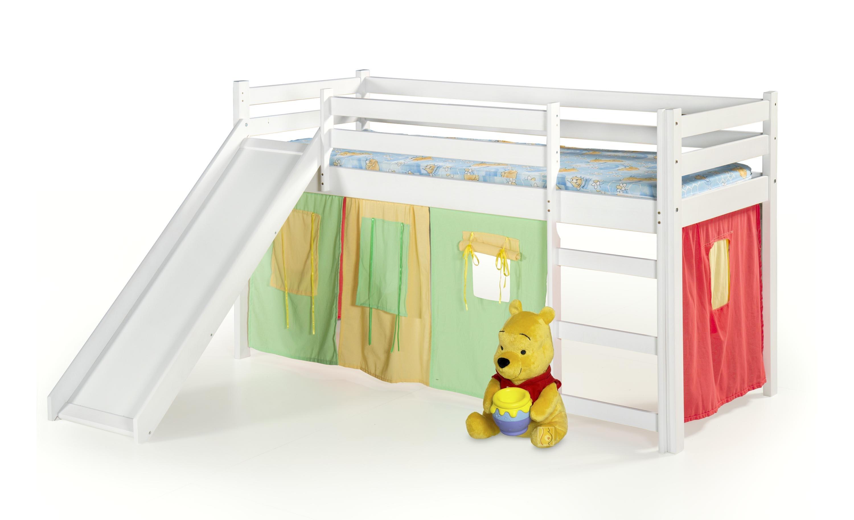 Pat din lemn de pin pentru copii cu tobogan Neo Plus Alb, 190 x 80 cm imagine