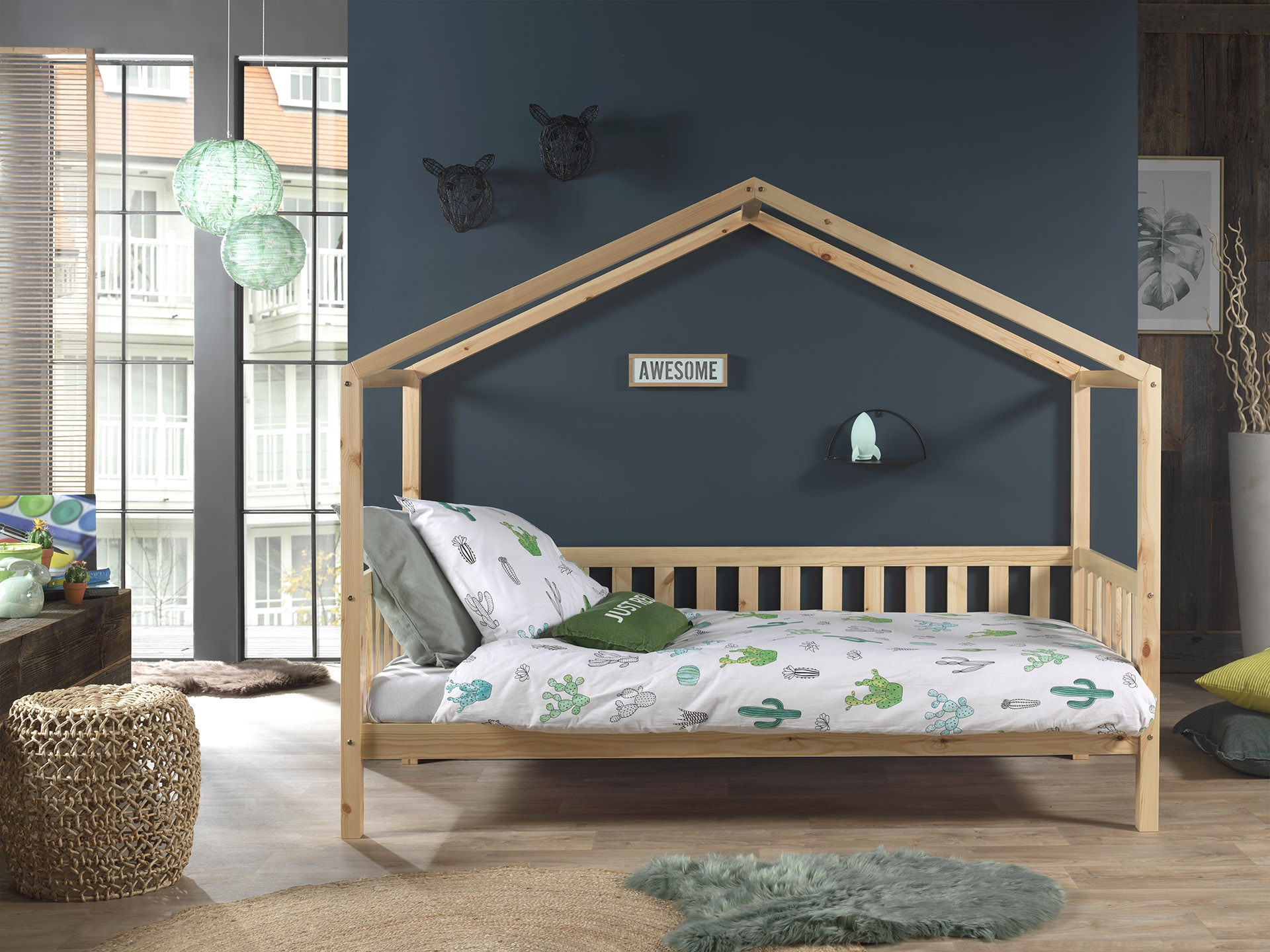 Pat din lemn de pin pentru copii tip casuta Dallas Capitan Natural, 200 x 90 cm imagine