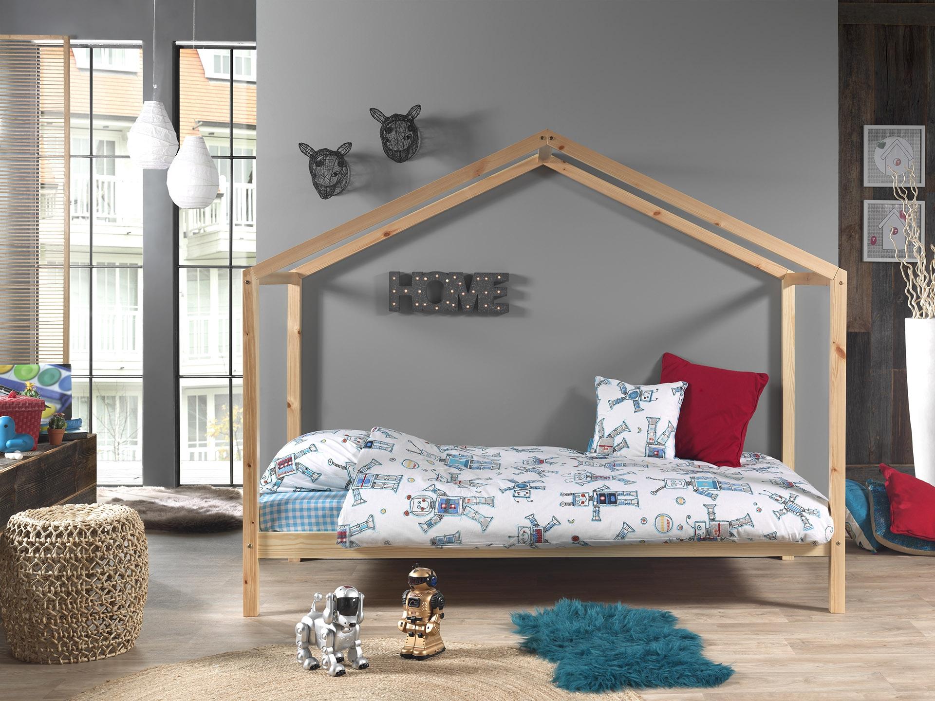 Pat din lemn de pin pentru copii tip casuta Dallas House Natural, 200 x 90 cm imagine