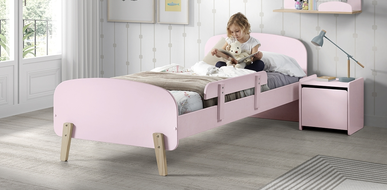 Pat din lemn de pin si MDF cu protectie, pentru copii Kiddy Roz, 200 x 90 cm imagine