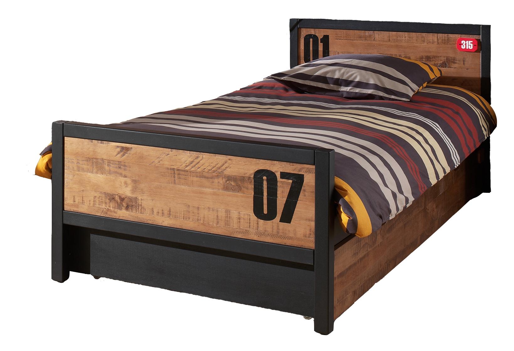 Pat din lemn de pin si MDF cu sertar, pentru copii Alex Natural / Negru, 200 x 90 cm