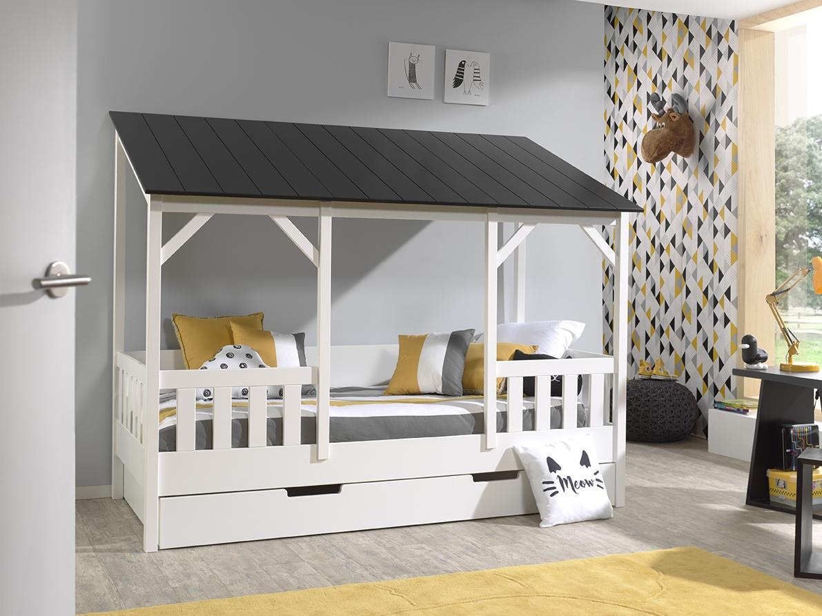 Pat din lemn de pin si MDF cu sertar, pentru copii tip casuta Housebed Capitan Alb / Negru, 200 x 90 cm somproduct.ro
