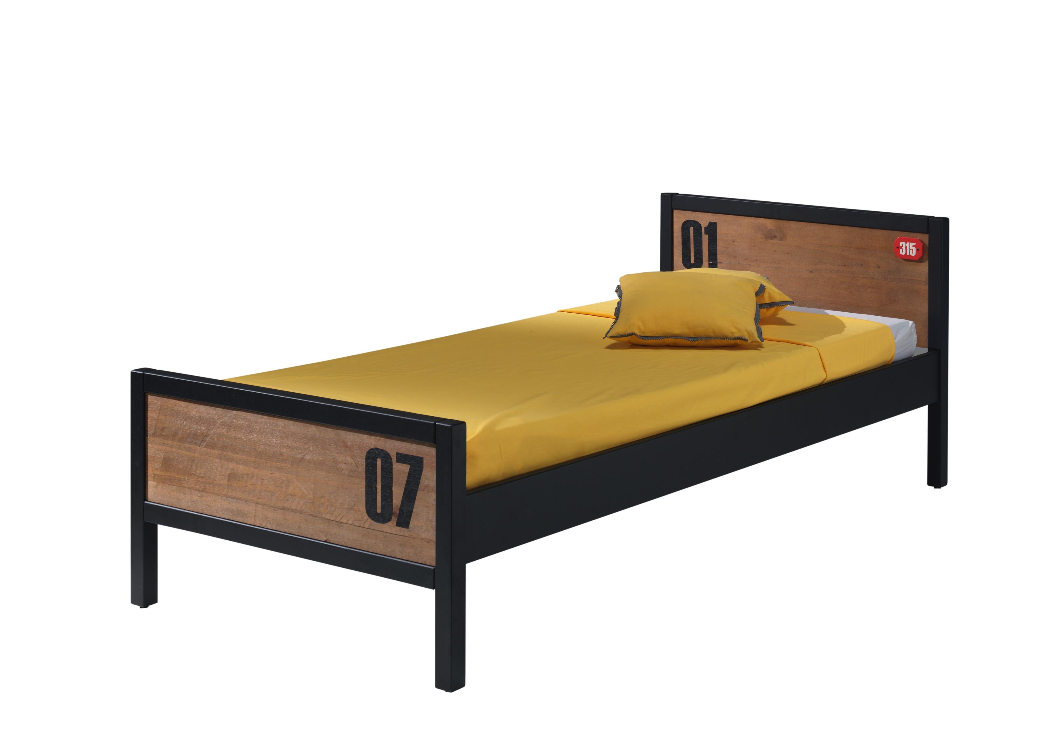 Pat din lemn de pin si MDF pentru copii Alex Natural / Negru, 200 x 90 cm