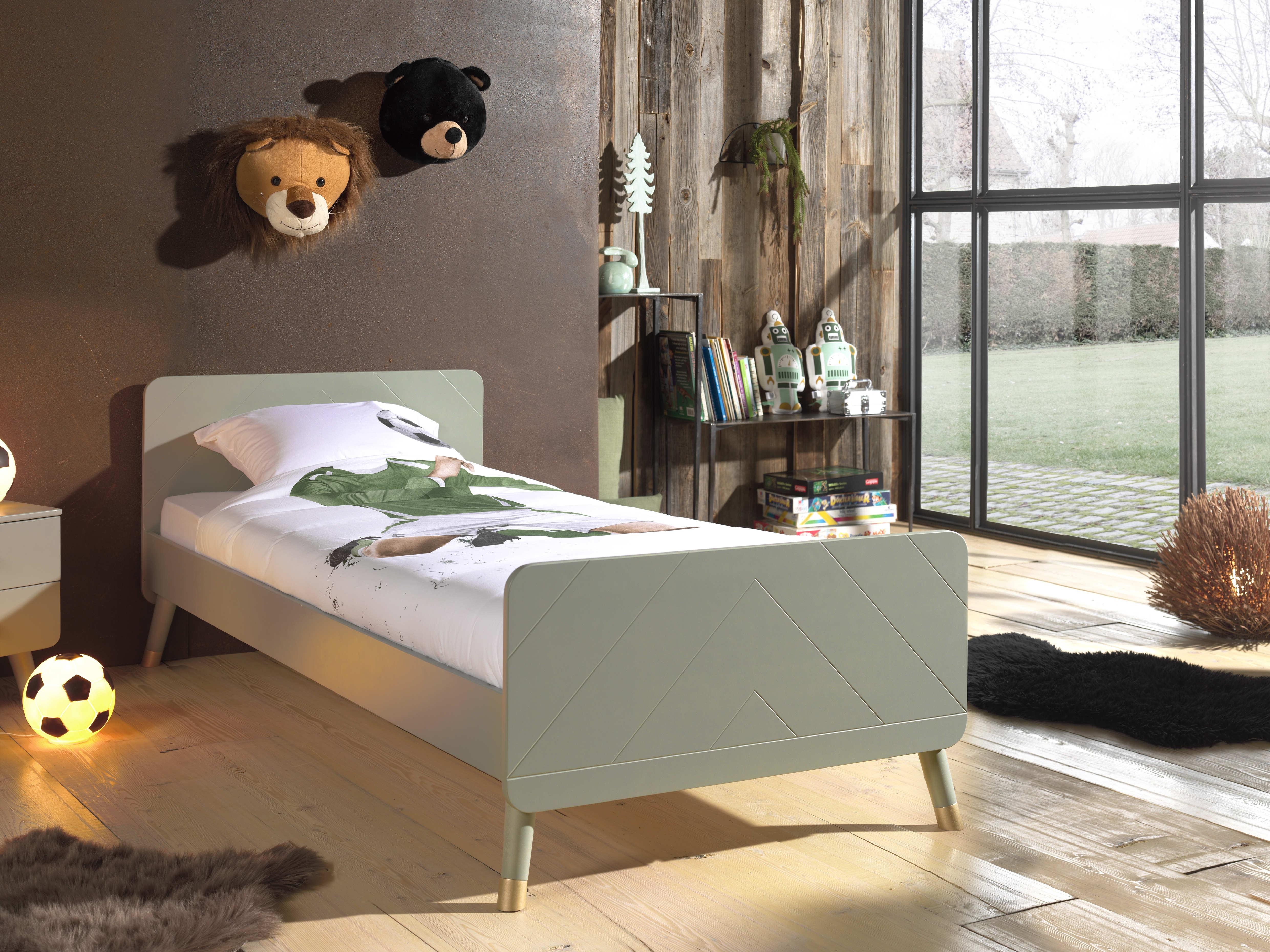 Pat din lemn de pin si MDF pentru copii Billy Verde Olive, 200 x 90 cm imagine