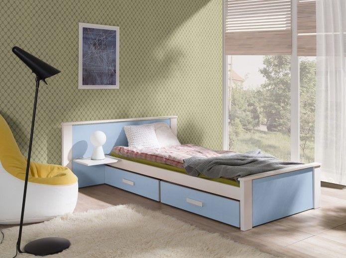 Pat din lemn de pin si pal, cu 2 sertare pentru copii Aldo Plus Alb / Albastru, 200 x 90 cm