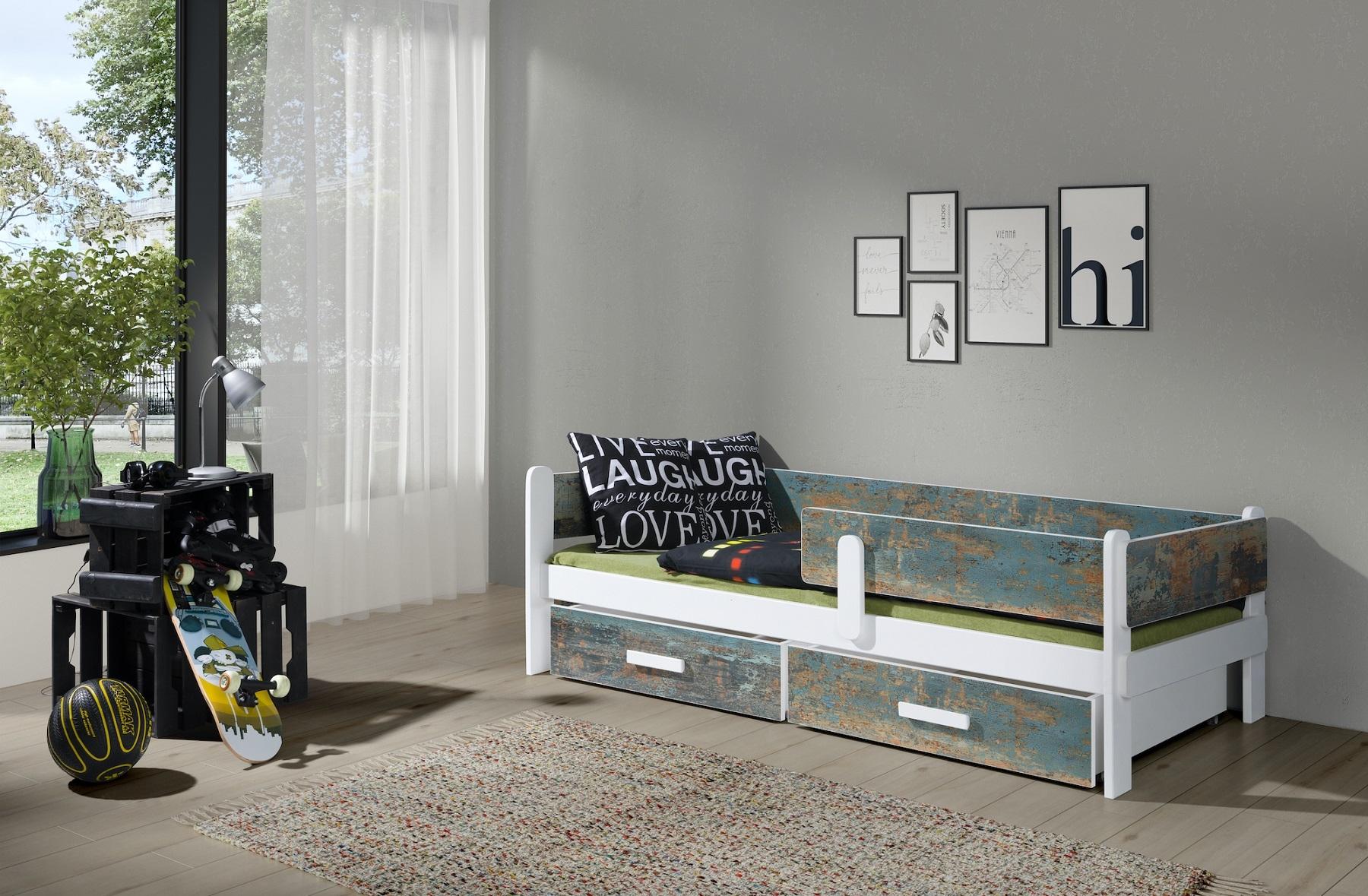 Pat din lemn de pin si pal, cu 2 sertare pentru copii Leila, 200 x 90 cm imagine