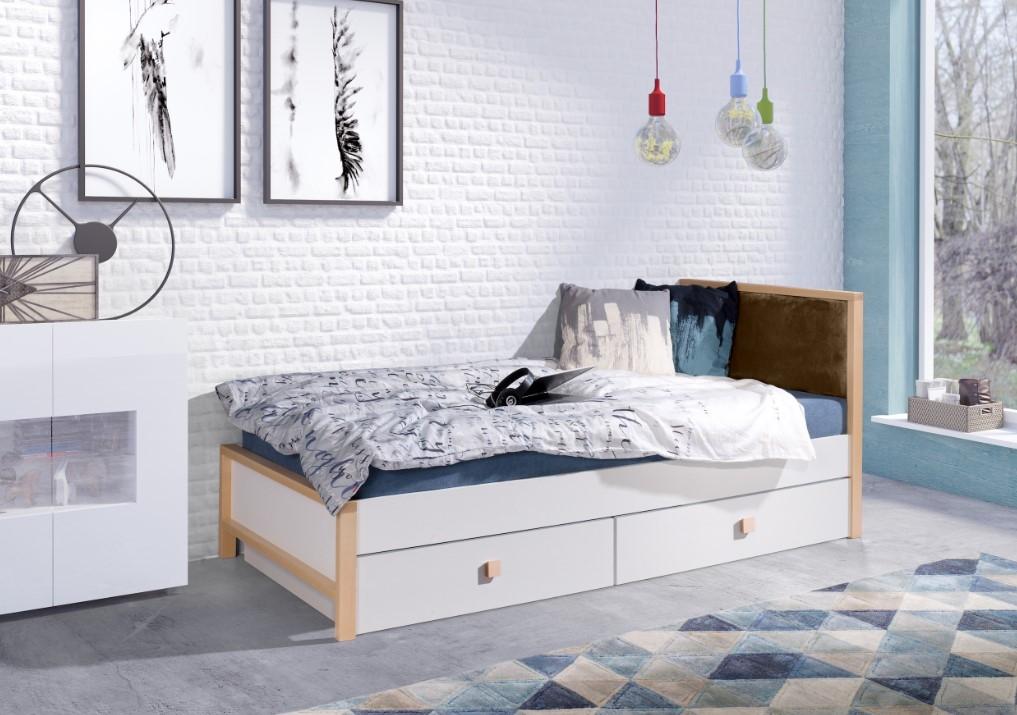 Pat din lemn de fag si pal cu 2 sertare, pentru copii Zara, 200 x 90 cm