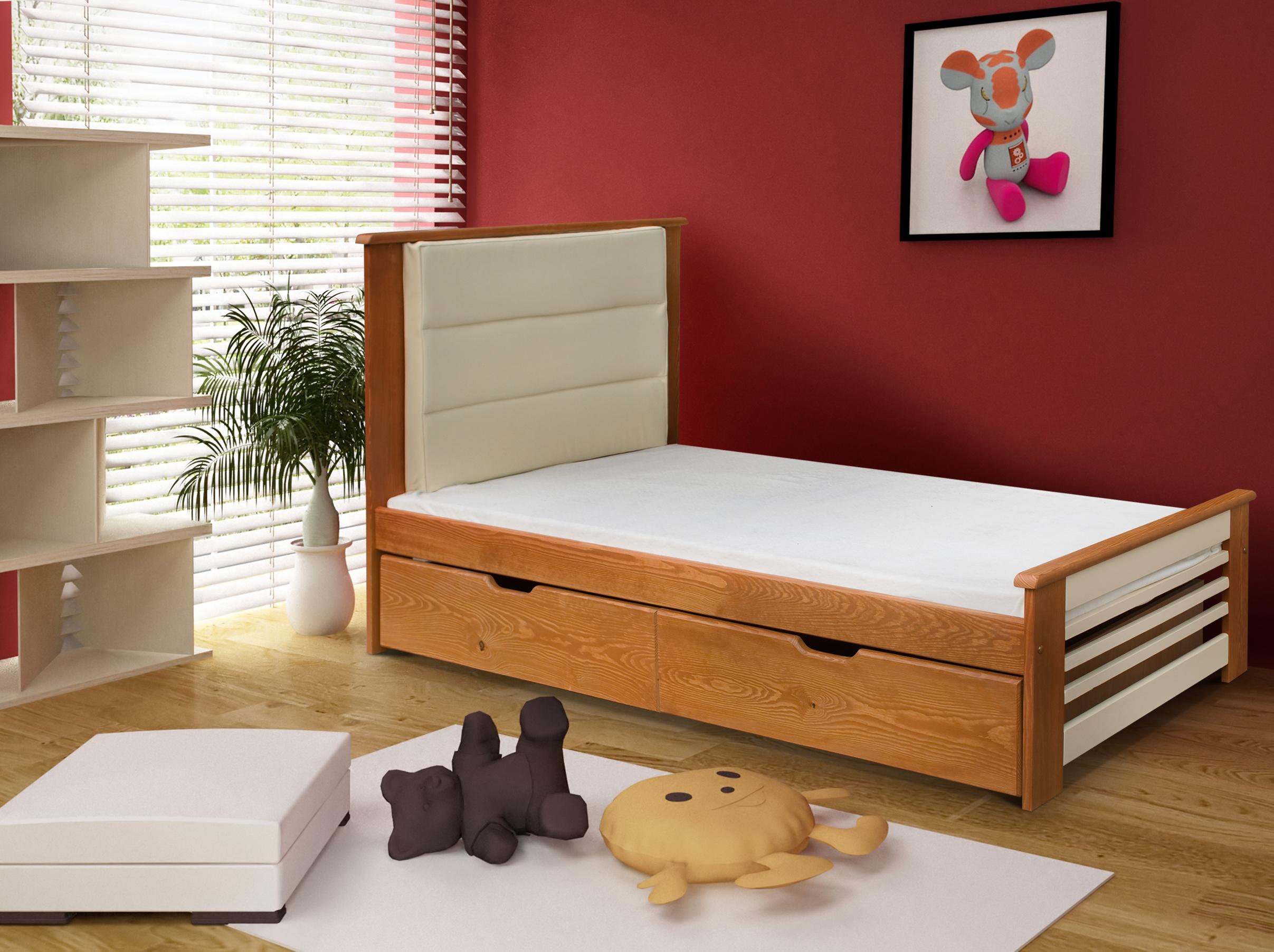 Pat din lemn de pin cu 2 sertare pentru copii Amelia poza