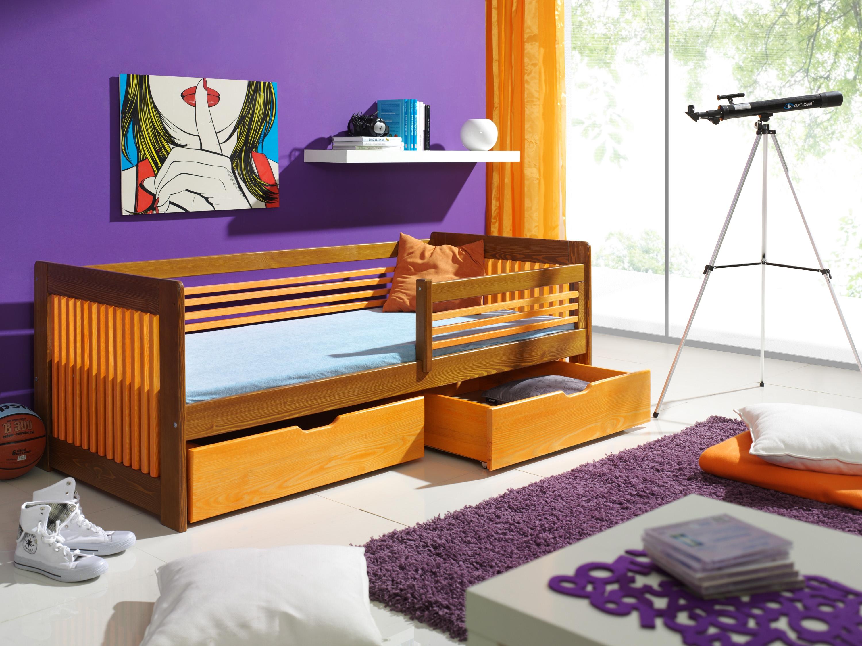 Pat din lemn de pin cu 2 sertare pentru copii Klara, 200 x 90 cm